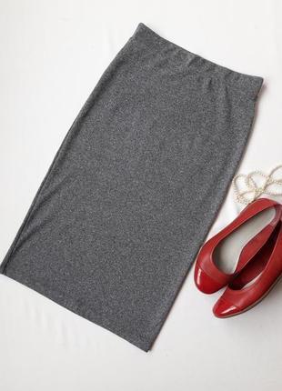 Юбка женская стильная h&m серая длинная миди карандаш