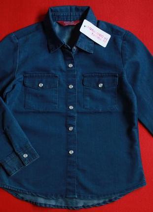 Джинсовая рубашка young dimension для девочки 5-6 лет(на бирке 6-7,маломерит)
