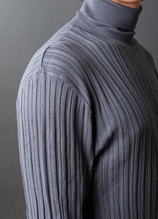Серый стальной эластичный ребристый рифленый в рубчик рубец гольф