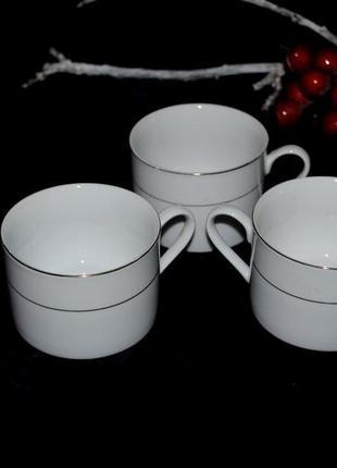 Чашки набор 3 шт чайный белые с позолотой фарфор англия 250 мл