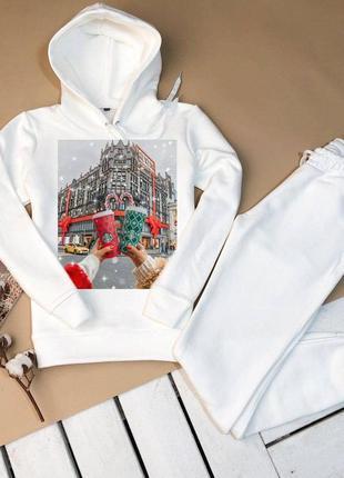 Зимние костюмчики на флисе толстовка с капюшоном +штаны с кармашкам