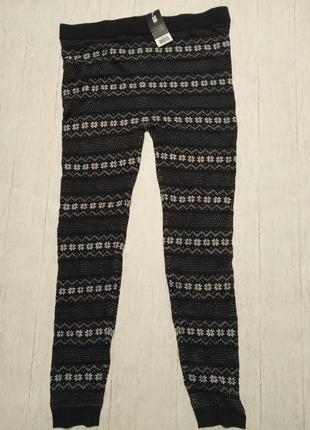 Теплые вязаные штанишки-лосины с зимним орнаментом esmara, l 44-46 евро3 фото