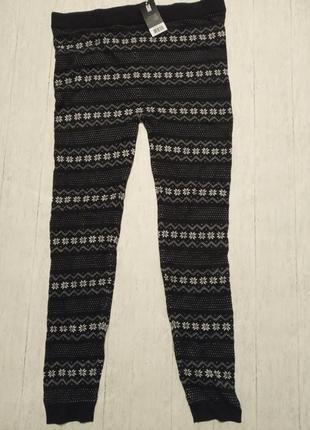 Теплые вязаные штанишки-лосины с зимним орнаментом esmara, l 44-46 евро5 фото