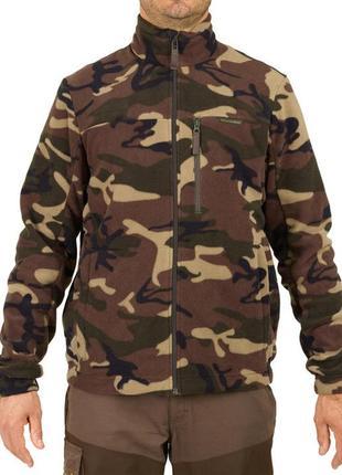 Теплая кофта на молнии новая коллекция decathlon ® hunting fleece taiga 300 camo green