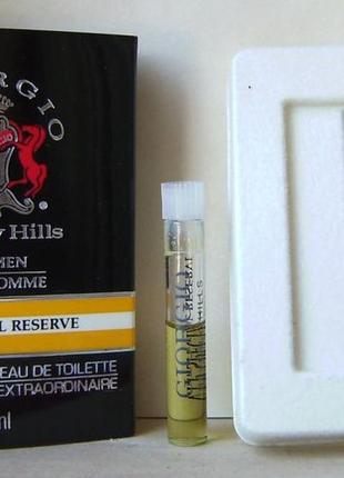 Giorgio beverly hills for men v.i.p. special reserve - edt - 1 мл. оригінал. вінтаж