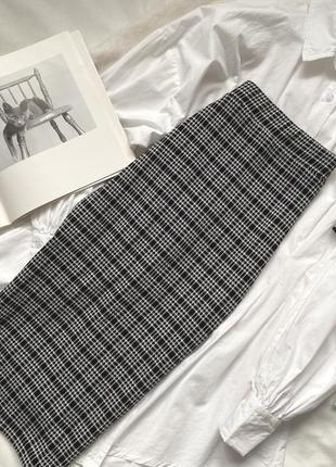 Юбка миди плотный материал тёплая юбка миди в клетку по фигуре юбка карандаш