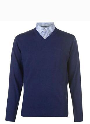 Стильный фирменный свитер, джемпер с рубашкой обманкой, большого размера