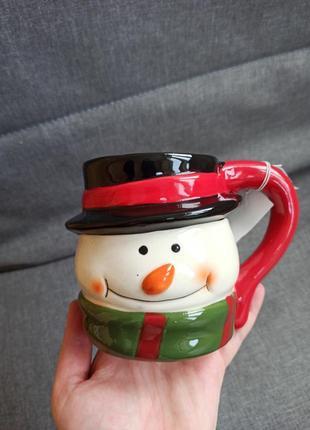 Новая чашка новогодняя новый год снеговик голова снеговика