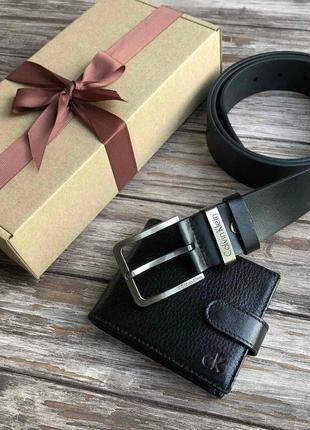 💥набор кожаный кошелёк+ремень в подарочной коробке 😍