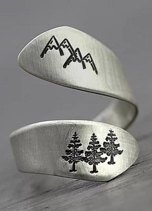 Кольцо горы скалы лес пейзаж серебро этно бохо инди перстень