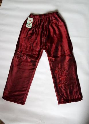 Штаны брюки штанишки теплые зимние с вышивкой паетками