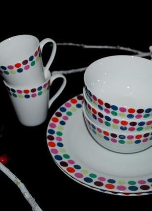 Набор яркой посуды англия home сервиз тарелки чашки 7 шт супница