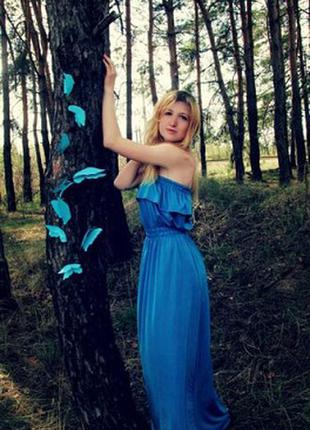 Платье, шикарное платье, длинное платье, платье в пол, голубое платье