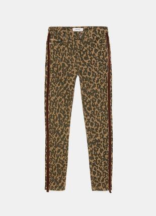 Новые леопардовые джинсы скинни zara с лампасами