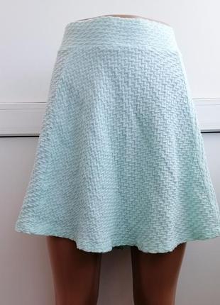 Юбка мини короткая клеш бирюзового мятного цвета