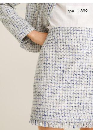 Трендовая твидовая мини юбка mango