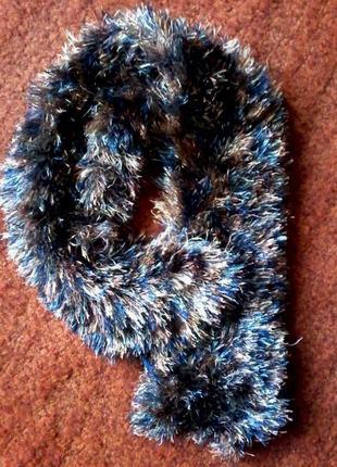Теплый мягенький красивый шарф-хомут-снуд из травки