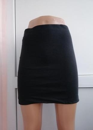 Юбка мини короткая чёрная
