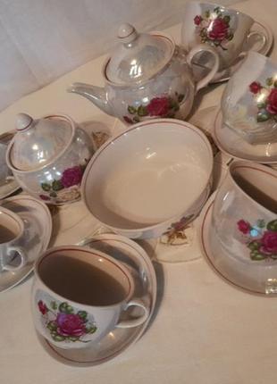 Шикарный фарфоровый чайный сервиз полонского з-да