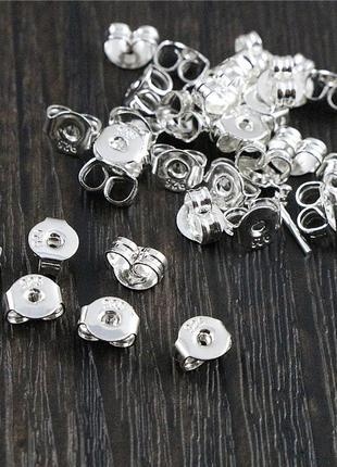 Застежки для серег гвоздиков замочки для сережек заглушки для пуссет 925 серебро золото