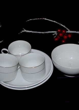 Набор  m&s  тарелки, винтаж белый чашки чайные кофейные белые салатник