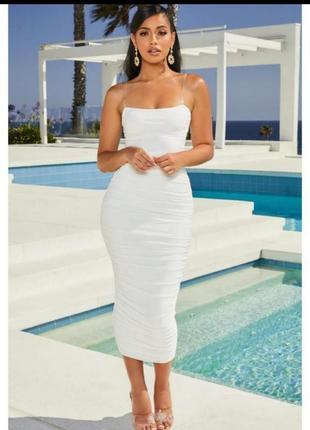 Белое макси платье сетка от oh polly