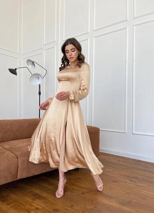 Шикарное золотистое люкс платье шелк