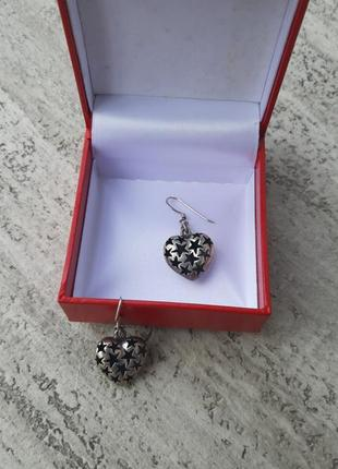Серебряные сережки серьги сердце звезды серебро 925 проба