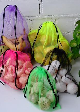 Набор эко мешочков для продуктов, эко пакеты, мешки для продуктов, эко мешки из сетки