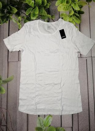 Біла чоловіча футболка під одяг бавовна в рубчик