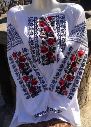 Вышиванка чёрное и красное женская рубашка сорочка вишита вишиванка вышитая l