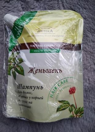 Шампунь  для  волос жирных у корней и сухих  на кончиках.( женьшень) 200 гр.