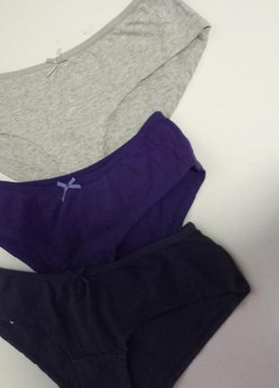 Комплект труси напівшорти на дівчинку  c&a xs бавовна повсякденні фіолетові і сірі
