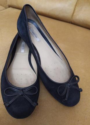 Брендовые натуральные кожаные замшевые чёрные балетки geox туфли туфельки