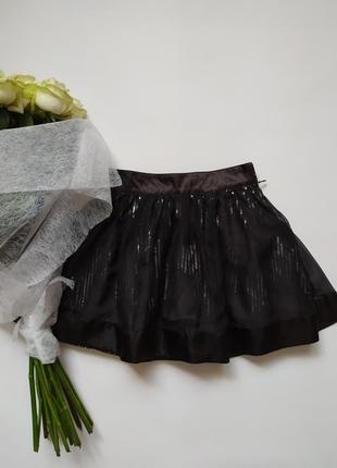 Детская школьная черная нарядная юбка