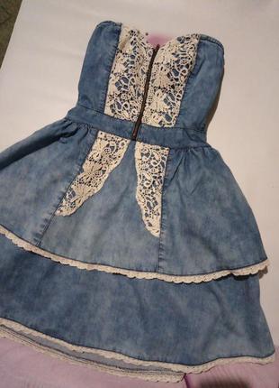 Джинсовой платье-бандо