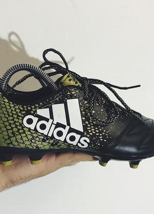Мужские кожаные бутсы adidas ( адидас 39рр 24,5см идеал оригинал черно-золотистые)