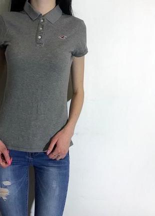 Женская футболка (поло) hollister ( холистер хсрр идеал оригинал серое)