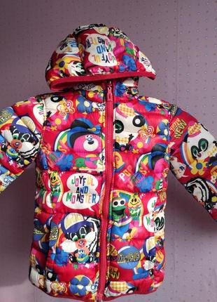 Двухстороння куртка деми на девочку, до 110 см