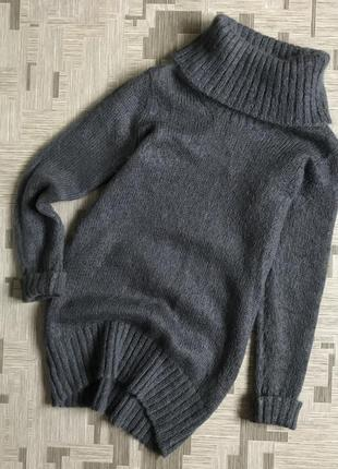 Шерстяной свитер платье кофта туника из шерсти шерстяная тёплый