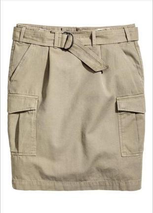 🔥 акция! - 50% на бренд h&m!🔥 стильная бежевая юбка карго миди h&m