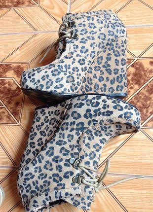Леопардовые замшевые ботильоны ботинки на платформе р.35-36