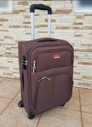 Дорожный тканевый чемодан на 4 колесах suitcase 016. ручная кладь poland