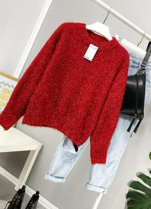 Красный новогодний свитер блестящий