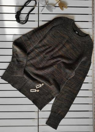 Теплый вязаный свитер цвета хаки h&m