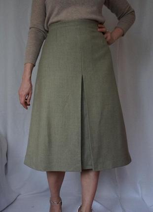 Роскошная юбка миди 💯 шерсть/оливковая/с встречной складкой/max mara woolmark massimo