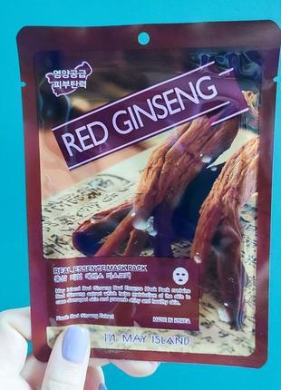 Тканевая маска с красным женьшенем may island red ginseng real essence mask pack