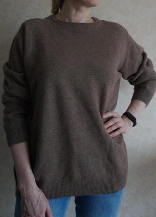Базовый джемпер свитер 💯 шерсть ягненка мокко оверсайз canda woolmark woolrich