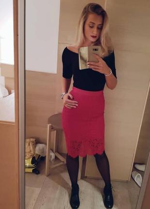 Кружевная красная юбка h&m