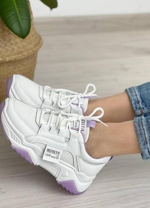 Кроссовки белые женские кожаные кожа текстиль на шнуровке
